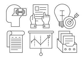 Ícones de crescimento de negócios lineares