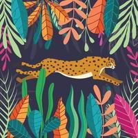 chita de gato grande correndo em fundo escuro tropical vetor