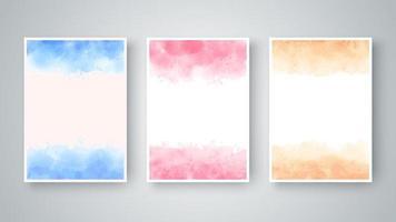 conjunto de textura abstrata aquarela colorida vetor