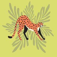 chita gato selvagem exótico fofo alongando-se vetor