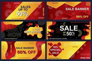 conjunto de banners de venda para compras online vetor