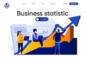página de destino plana de estatísticas de negócios vetor