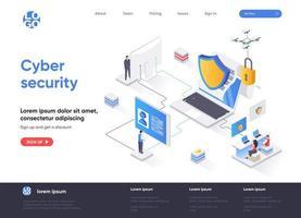 página de destino isométrica da segurança cibernética