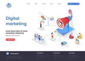 página de destino isométrica de marketing digital vetor
