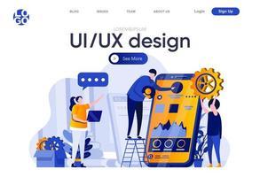 ui ux design página de destino plana vetor