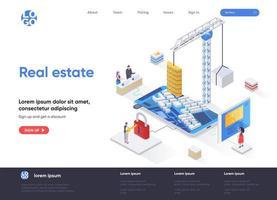 página de destino isométrica imobiliária vetor