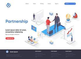 página de destino isométrica de parceria vetor