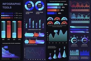 pacote de elementos de kit infográfico de ui, ux vetor