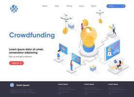 página de destino isométrica de crowdfunding vetor