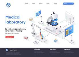 página de destino isométrica do laboratório médico