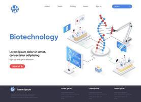 página de destino isométrica de biotecnologia vetor