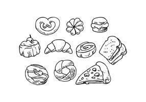 Vector de ícones desenhados à mão de padarias grátis