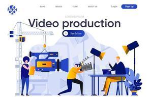 página de destino plana de produção de vídeo