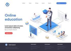 página de destino isométrica de educação online vetor