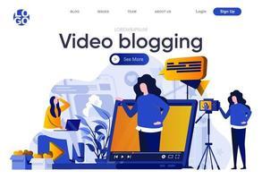 página de destino plana de vídeo blogging