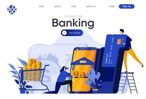 página de destino plana do banking vetor
