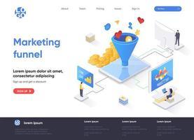página de destino isométrica do funil de marketing