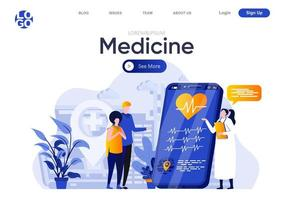 página de destino plana de medicamentos