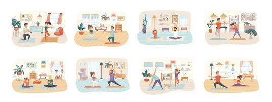 conjunto de cenas de ioga com personagens planos