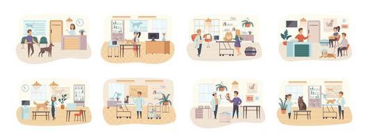 conjunto de cenas de clínica veterinária com personagens planos vetor