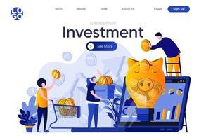 página de destino plana do investimento vetor