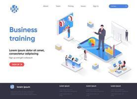 página de destino isométrica de treinamento empresarial vetor