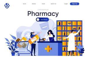 página de destino plana da farmácia vetor