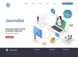página de destino isométrica do jornalista