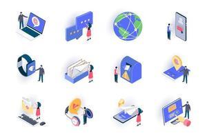 conjunto de ícones isométricos de contatos sociais