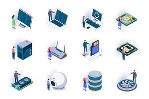 conjunto de ícones isométricos de elementos de computador vetor