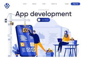 página de destino plana de desenvolvimento de aplicativos vetor