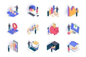conjunto de ícones isométricos de finanças vetor