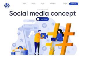 página de destino plana do conceito de mídia social vetor