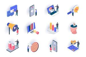 conjunto de ícones isométricos de marketing smm