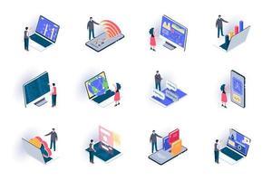 Conjunto de ícones isométricos de trabalho freelance