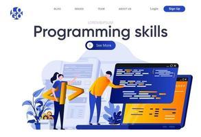 habilidades de programação página de destino plana vetor