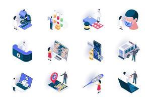 conjunto de ícones isométricos de serviço médico vetor