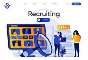página de destino plana de recrutamento vetor
