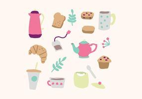 Conjunto de vetores coloridos para o tempo do chá