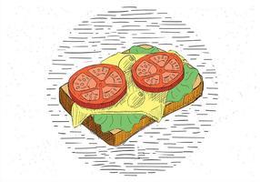 Ilustração de Sanduíche de Vector Desenho Desenhado Gratis