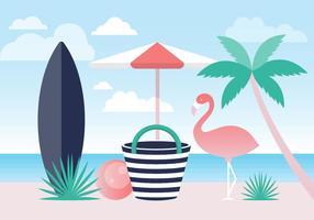 Fundo de vetor de praia de verão colorido gratuito