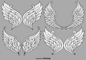 Conjunto de vetores de asas de anjo de desenhos animados