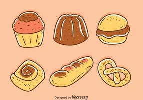 Vetores de padaria e bolos desenhados à mão