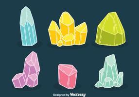 Vetores de quartzo coloridos desenhados à mão