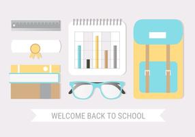Vetor de design plano grátis de volta ao cartão de escola