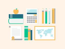 Livre Flat Design Vector Back to School Acessórios