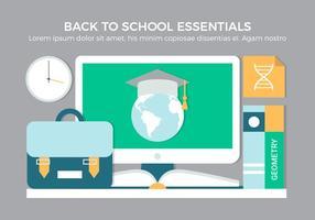 Ilustração plana de elementos escolares de vetores de design plano gratuito