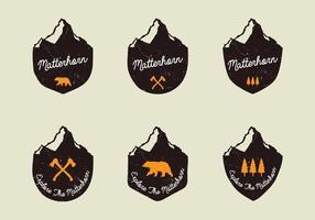 Distintivos Handdrawn de Matterhorn vetor