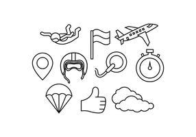 Vetor gratuito de ícones de linha de pára-quedismo