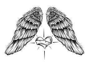 Alas de anjo com vetor de coração